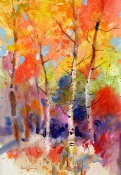 Watercolor - Fall in the Aspens Deborah Swan McDonald