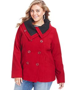 53f8dbce68c61 Dollhouse Plus Size Wool-Blend Double-Breasted Pea Coat Plus Sizes - Coats  - Macy s
