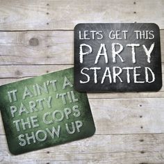 Let's get this party started! plastic photo booth signs by Whisker Works