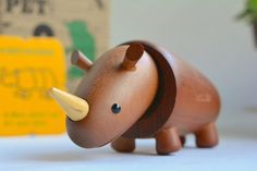 :-:-:-:- -:-:-:-:- -:-:-:-:- -:-:-:-:- Vintage Royal Pet modern wooden animal series -:- Super rare wooden object -:- -:-:-:-:- -:-:-:-:- -:-:-:-:- -:-:-:-:- Descriptions -:-:-:-:- Manufacturer / SENSHUKAI / JAPAN Series / Royal Pet Manufactured / 1960s Type / RHINOCEROS Material / Wood / Matte finished as a danish object Measurements / Height : 5.0 cm / Length : 12 cm / approx. Condition / Mint condition, Most likely New In an Ori...