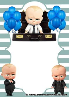 Baby Boss Invitation Template for Your Adorable Little Boss — FREE Invitation Templates - Drevio Baby Boy Invitations, Free Birthday Invitation Templates, Disney Invitations, Birthday Invitation Card Template, First Birthday Invitations, Invite, Boss Birthday, Baby Boy 1st Birthday Party, Happy Birthday