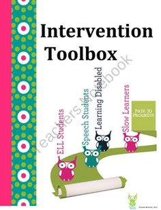 Intervention Tools for RTI and Special Education. Has things on ELL, Speach… Response To Intervention, Reading Intervention, Teacher Tools, Teacher Resources, Teacher Stuff, Teaching Ideas, Behavior Interventions, School Social Work, Teacher Assistant
