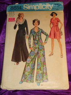 60s Vintage Plus Size Wide Leg Jumpsuit UNCUT Simplicity Pattern 8514 Bust 42