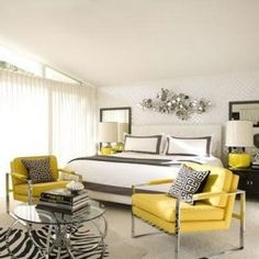 yellow, white and black/grey bedroom