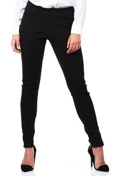 Klasyczne czarne spodnie damskie o dopasowanym kroju