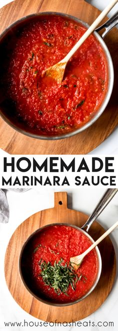 Nothing beats this classic Homemade Marinara Sauce that is made from scratch with crushed tomatoes, garlic, and fresh basil simmered on the stove. And it can double as a pizza sauce! Italian Dishes, Italian Recipes, Vegetarian Recipes, Cooking Recipes, Cooking Tips, Pork Recipes, Salad Recipes, Pasta Sauce Recipes, Sauces