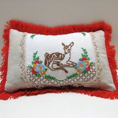 Vintage Embroidered Childrens Room Decor Pillow by JackieSpicer