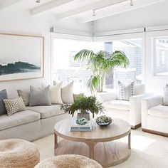 Heather Gray Sofa with Round Oak Coffee Table - Cottage - Living Room Beach Living Room, Cottage Living Rooms, Coastal Living Rooms, New Living Room, Home And Living, Living Room Decor, Hamptons Living Room, Coastal Bedrooms, Style Deco