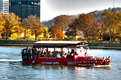 Learn fun facts about Pittsburgh while riding on land & water in this amphibious vehicle.