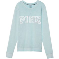 PINK Vintage Washed Campus Crew ($47) ❤ liked on Polyvore featuring tops, pink top, crew top, pink summer tops, layered tops and double layer top