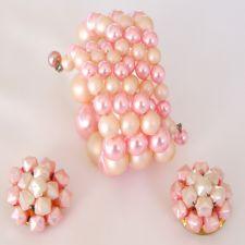 1950s Pink n' Cream Beaded Wire Wrap Bracelet Earring Set image
