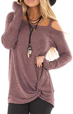 309e2b98d2 ANDUUNI Women s Loose Cold Shoulder T Shirt Casual Knot Front Long Sleeve  Tunic Tops Blouse at Amazon Women s Clothing store