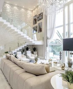 Stunning all bright white living room decor with white modern sectional and crystal chandelier Living Room Designs, Living Room Decor, Living Room Chandeliers, Interior Design Career, Home Improvement Loans, Luxury Interior, Modern Home Interior, Room Interior, Decor Styles