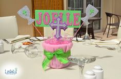 Centerpiece with cross for Baby Girl Pink and pistachio Themed Baby Shower Decorations by Leila Events (01065). For orders or further info call or whatsapp +201222220889