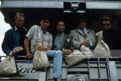 Having assembled a team of talented criminals, gang leader Corbin Bernsen is ready to rob the bank of this dreams with a little help from his friends Lou Diamond Phillips, Ruben Blades, Fred Gwynne, and William Russ in a scene from the film 'Disorganized Crime', 1989.