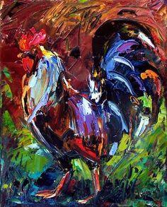 rooster art, debra hurd