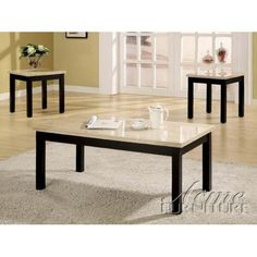 Amazon.com: 3pc Coffee Table and End Tables Set with Faux Marble Top in Black Finish: Furniture & Decor