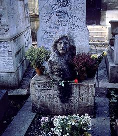 Morrison's grave at Pere Lachaise Cemetery in Paris -- the most visited gravesite in France