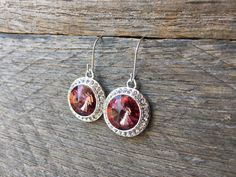 Antique Pink Crystal Earrings Swarovski Rhinestone Dangle on Silver or Gold French Wire Hook by haileyallendesigns