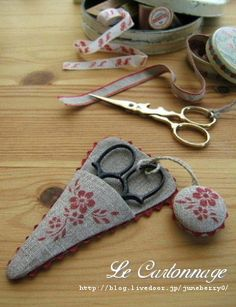 scissor keeper and fob flower cross stitch