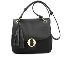 Leather Shoulder Bag with Tassels (€219) ❤ liked on Polyvore featuring bags, handbags, shoulder bags, real leather purses, tassel shoulder bag, leather shoulder handbags, leather purse and leather tassel purse