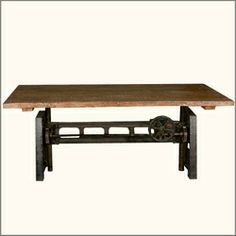 "Industrial Machine Base Reclaimed Teak Wood 79"" Trestle Dining Table"