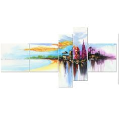 Modern Vivid City Bliss Canvas Wall Art Oil Painting