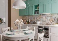 Útulných 65 metrů čtverečních ve stylu Provence - HomeInCube Kitchen Dinning Room, Design Case, Provence, Kitchen Island, Table Settings, Photo Wall, Furniture, Home Decor, Kitchens
