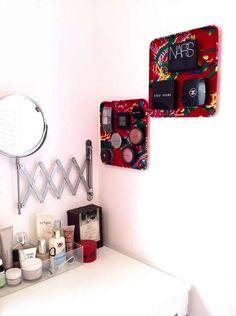 Magnetic cosmetics board....keep your make up from taking over the bathroom counter!