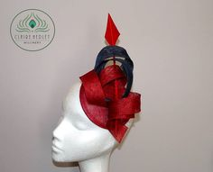 Red and navy blue sinamay cocktail pillbox percher hat Navy Fascinator 539ec50e8c6