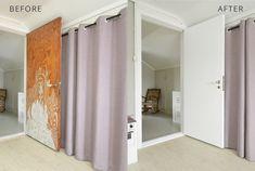 GUIDE & VIDEO - Se hvordan du pusser opp døren med kontaktplast!  Perfekt for deg som liker å bytte farger med trendene, har møbler som trenger litt kjærlighet, har lite budsjett eller leier.  www.lindasdekor.no  #lindasdekor #oppussing #inspirasjon #hjem #diy #gjørdetselv #interiør #kontaktplast #selvklebendefolie #folie #dekorplast #dør Divider, Room, Furniture, Home Decor, Homemade Home Decor, Rooms, Home Furnishings, Decoration Home, Arredamento