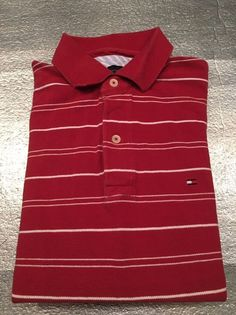 Men's TOMMY HILFIGER Golf Polo Shirt - Red, Striped, Textured - Size S