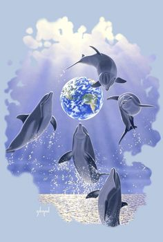 'Leaping Dolphins, Earth' Poster by Schim Schimmel Dolphin Images, Dolphin Photos, Plastic In The Sea, Ocean Drawing, Dolphin Tale, Ocean Wallpaper, Wale, Beautiful Fantasy Art, Animal Posters