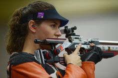 Sarah Scherer of the United States looks on as she competes in the Women's 10m Air Rifle Shooting qualification on Day 1 of the London 2012 Olympic Games at The Royal Artillery Barracks on July 28, 2012 in London, England.