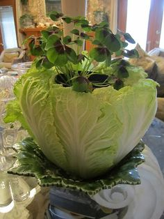 green cabbage, green clover, green bowl = green St. Patrick's Day centerpiece