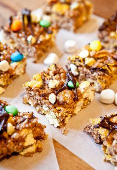 Double Chocolate Caramel Corn & Cocoa Rice Krispies Candy Bars. Use up odds & ends from Holiday baking season in these easy no-bake bars.