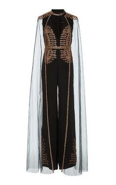 This **Cucculelli Shaheen** Hydra Tulle Cape Jumpsuit features a deep v-neckline with a wide-leg and hand embroidered with rose-gold and copper micro bugle beads, seed beads and paillettes in snake head motif. Couture Mode, Couture Fashion, Girl Outfits, Cute Outfits, Fashion Outfits, Cape Jumpsuit, Facon, Mode Style, High Fashion