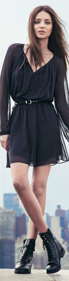 Miranda Kerr for Mango Fine polka dot dress made of lightweight & sheer fabric. Casual, long sleeve, little black dress. Looks Street Style, Looks Style, Looks Cool, My Style, Look Fashion, Spring Fashion, Fashion Outfits, Womens Fashion, Fashion Trends