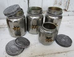 Hand painted mercury glass jars with distressed lids, aged mirror effect with golden bee embellishment and rhinestone trim by Anita Spero