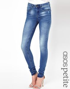 Image 1 of ASOS PETITE Ridley Supersoft High Waisted Ultra Skinny Jeans in Light Stonewash
