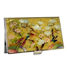 Business Card Stainless Case Orchid Card Holder Slim Mother of Pearl Butterfly