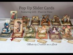Graphic 45 Place in Time Slider Pop Up Cards - YouTube