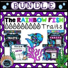Character Traits Bundle Pack - The Rainbow Fish- Cut and paste activities, sort the character traits, yes/no game, word wall cards and writing paper.