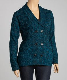 Take a look at this Peacock Double-Breasted Cardigan - Plus by Carol Rose on #zulily today!
