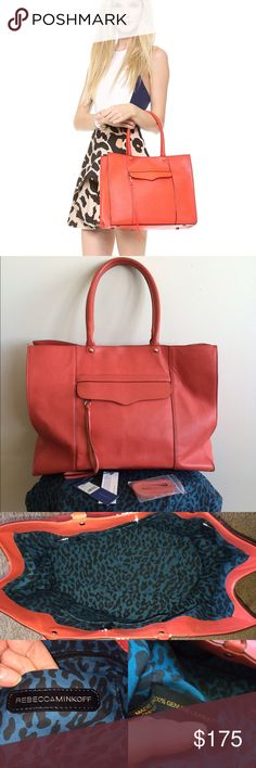 Rebecca Minkoff Large MAB Tote Perfect for Spring/Summer! This gorgeous, super roomy, coral-colored tote is in great used condition. Apart from a few small dark marks (see last photo) the bag is virtually flawless. The discoloration is hard to see. I only noticed it when closely inspecting the bag to make this post. The interior has no stains or tears. It has 2 slip pockets, 1 card pocket and 1 large zip pocket. Includes original dust bag, tags and extra laces. NO TRADES. Reasonable offers…