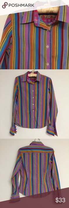 """Robert Graham Striped Button Down Shirt Robert Graham Women's Striped Long Sleeved Button Down Shirt size 4 Bright purple, orange, yellow, blue, and black vertical stripes Traditional shirt collar Buttons down all the way with yellow chevron embroidery inside the placket Long sleeves with angled button cuffs Curved hem 100% cotton and machine washable About 18"""" across the chest from arm to arm, 16"""" at the waist, 24.5"""" shoulder to hem Excellent condition! Feel free to make me an offer! Robert…"""