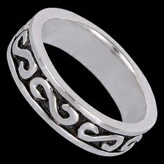 Silver ring, ring Silver ring, Ag 925/1000 - sterling silver. Decorated ring - esses. Width approx. 5mm.