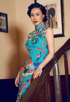 Qipao lady Vivan Wu / Peacock Blue
