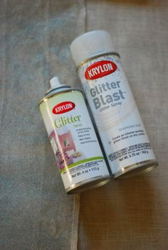 DIY Glitter Linen @ hey porkchop! - Use glitter spray to turn ordinary fabric into lightly frosted fabric!