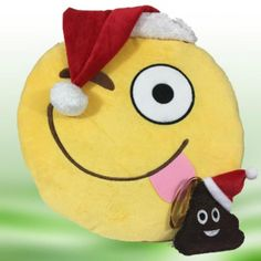 "Emoji Christmas 14"" Happy Face Pillow & Poop Ornament Gift Set 2 Santa Emojicon #TopTrenz"